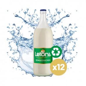 Leche Letona Semidesnatada (Caja 12 x 1L) Cristal Retornable